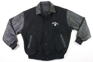 Jack Daniels Whiskey Bomber Jacket L Leather Wool Coat Varsity Large