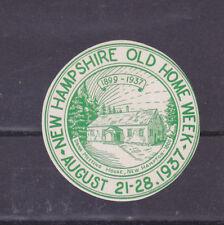Vintage Poster Stamp Label NEW HAMPSHIRE OLD HOME WEEK 1937 New Hampton   #IM