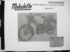 Mobylette/Moped/1963+/ AV89 / In English/ Parts Book With Full Exploded Diagrams