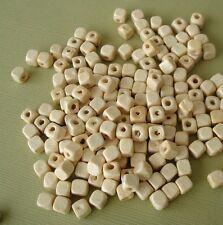 200pcs- Wood Beads Cube Ivory Color 5x5x5mm.
