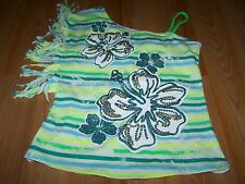 Girls Size 10 Justice Striped Tropical Flowers Fringed Summer Top Bright Green