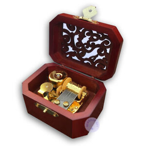 Brown Wooden Hollow out Music Box With Sankyo Musical Movement (50 Tunes Option)