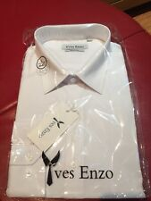 4ff23bdcf8f48 NEUF HOMME YVES ENZO Coupe Slim Uni Blanc À Col Chemises Taille L