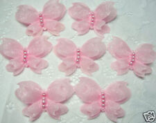 40 pcs Pink Padded Butterfly w/ Pearls Sewing Appliques