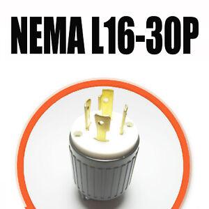 NEMA L16-30P Locking Male Plug Rated for 30A 480V L16-30 Plug AC 60Hz