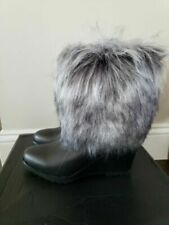 Sorel  Park City Lux Short Wedge Waterproof Leather Boots Fur in Black $300, 6.5