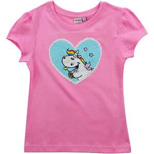 """Pummel & Friends Pummeleinhorn - T-Shirt """"Pailletten-Herz"""", rosa, Gr. 134/140 NE"""