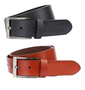 Leather Mens Belt Belts New Real Genuine Buckle Trouser Sizes Black Brown Jeans