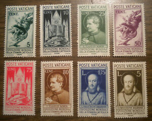 Vatican City: Scott's # 47 to # 54  from 1936;  8 stamps OG  H
