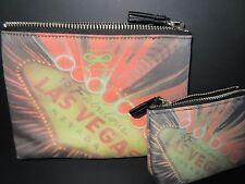 ANYA HINDMARCH Set of 2 Las Vegas Nylon Makeup/ Coin Bag Pouch *VERY RARE*  NWOT