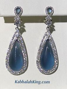Platinum Sterling Silver Blue White Sapphire Halo Tear Drop Chandelier Earrings