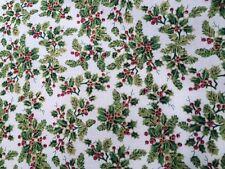 Holly Cream Christmas Fabric Remnant  50cm x 40cm 100% Cotton