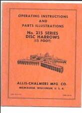 Allis Chalmers No 215 Series Disc Harrows Operating Instructions Manual
