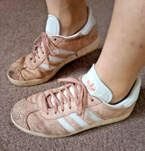Trashed women's pink Adidas Gazelle trainers, size 8
