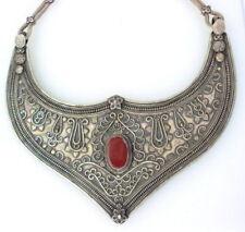 belly dance jewelry carnelian gemstone ethnic silver necklace choker hasli