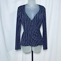Michael Kors Wrap Top Size S Long Sleeves V neck Zip Accent Casual Classic