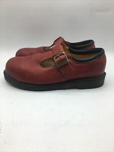 Dr. Martens Doc England Vintage Rouge Steel Toe Mary Janes MI/75 C/75 Red Buckle