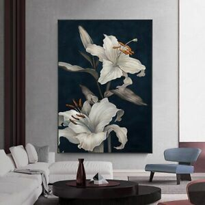 White Floral Posters and Prints Abstract Wall Art Flowers Modern Canvas Painting