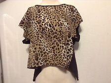 Tres Bien USA trendy black & ANIMAL PRINT  top MADE IN USA size SMALL OPEN BACK