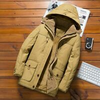 Men's Winter Parkas Jacket Hooded Cotton Trench Coat Outwear Warm Padded Brushed