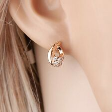 "9ct 9k Yellow ""GOLD FILLED"" Ladies White Stones Lovely stud Earrings, 8mm ""Gift"""