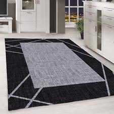 Kurzflor Teppich Schwarz Grau Linien Modernes Muster Wohnzimmer Schlafzimmer