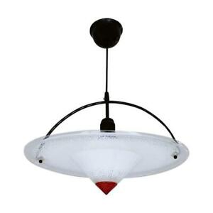 Acrylic Black and Red Postmodern Mounted Ceiling Pendant Lamp 1980s West Germany