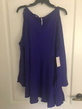 NEW FREE PEOPLE Clear Skies Solid Tunic Dress cold shoulders Sz L-XL $98 Violet