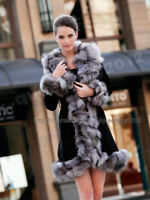 100% Real Pig Leather Sliver Fox Fur Collar Long Jacket Coat Outwear Womens New