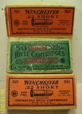 vtg~atq~3 Winchester Ammo Boxes~.22 Cal. Smokeless Rifle Long & Short Cartridges