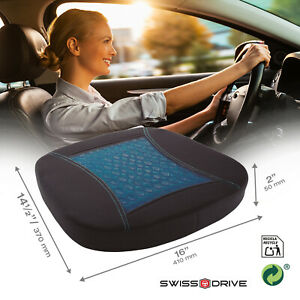 SWISS DRIVE CAR SEAT CUSHION WITH MEMORY FOAM AND COOLING GEL OFFICE HOME