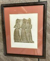 "VTG Framed Wax Rubbing ""Three Sisters"" Nuns Lincoln Cathedral England Souvenir"