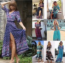 Womens Summer Dress Vintage Boho Long Maxi Split Party Club Beach Floral Dresses