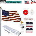 25ft Flag Pole Aluminum Heavy Duty Flagpole Kit US Flag Ball Can Fly w/2 Flags