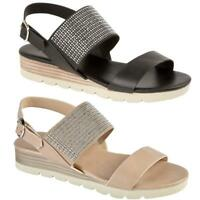 WOMENS LADIES WEDGE SUMMER BEACH FASHION STRAPPY COMFORT SANDALS SHOES SIZES