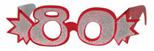 RED 80TH BIRTHDAY AGE GLITTERED FOIL SPECTACLES PARTY GLASSES