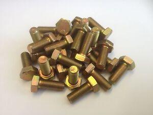 M10 x 1.25p x 25 FINE PITCH HEX SET BOLTS FULL THREAD 8.8 ZINC/YELLOW