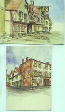 Wallingford Berkshire The George Hotel Lamb Hotel 2x 1959 sketch postcards