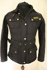 BARBOUR INTERNATIONAL LADIES SIZE 10 BLACK POLAR QUILT BELTED JACKET