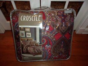 NIP Croscill Home Margaux Red Brown Blue Medallion King Comforter Set 4pc