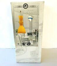 Hampton Bay Hanging Pendant Lamp/Light Satin Nickel Finish Amber Glass