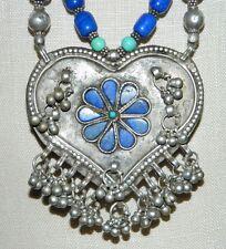 Vintage Tibetan Silver Turquoise Lapis Heart Flower Pendant Choker Necklace