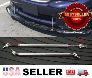 "Silver 5.5-8.5"" adjustable extension Rod Bumper Lip Diffuser splitter For Dodge"
