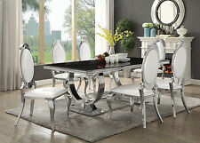 CONTEMPORARY BLACK GLASS CHROME DINING TABLE PEARLY CREAM CHAIRS FURNITURE SET