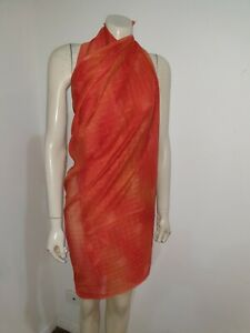 Orange Semi Sheer Sarong Scarf Shawl Craft Fabric Home Decor