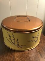 Vintage Yellow/Copper Metal Cake Cover Pussy Willow Pattern