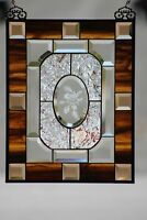 """Beveled Birdie Stained Glass Window Panel, Ready to Hang  ≈ 20""""x 14 5/8"""""""