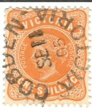 Victoria 1873-84 One Shilling 1/- Yellow Orange Used