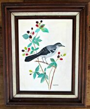 "Vintage Framed Northern Mockingbird Acrylic Painting on Canvas 13""x15"" Berries"