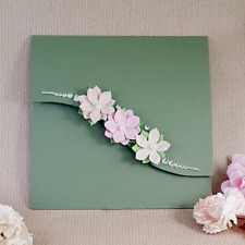 Pocket wedding invitation  green with pink and blush with flowers (bonita)